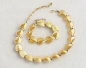 Heart Leaf Choker Bracelet Set Vintage Signed CORO Textured Adjustable Collar Necklace