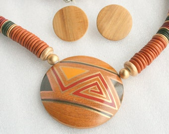 Vintage Wood Medallion Necklace Pierced Earrings Set Large Bold Disc Chunky 1970s Tribal Style