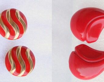 Red 1980s Earrings Vintage Destash LOT Enamel 2 Pair Clip On New Wave