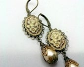 Brown Sugar Shimmer Cameo Earrings Dangle Pearls Champagne Botanical Romantic