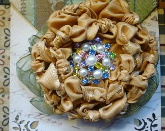 Gold Ribbon Flower Brooch (Peony/Mum)