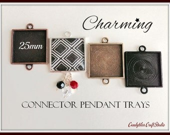 100pk...25mm Connector Square Pendant Trays....MIX and MATCH..Bezel Trays, Pendant Settings...SPT