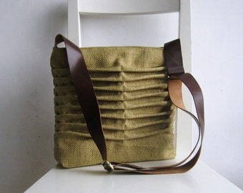 Natural Color with a Yellow Accent Canvas Pleated Bag with a leather strap