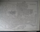 Antique 1914 City map of Montreal, Quebec Canada