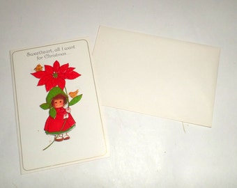 Vintage Sweetheart Christmas Card - Little Girl with Poinsettia and Birds - Gibson Christmas Card - Unused Greeting Card with Envelope