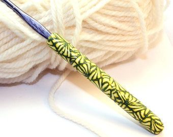 Polymer clay crochet hook, Susan Bates size F/5 or 3.75mm, handmade yellow and green design