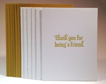 Thank You For Being A Friend (6 pack)-- folded greeting card, Bold Gold