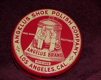 Vintage--ANGELUS--Shoe Polish--TIN--Nice Graphics