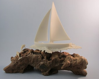 Vintage John Perry Sailboat and Dolphins Sculpture on Burl Wood Beach Theme Nautical Decor Sailor Gift John Perry Artist Pellucida Resin