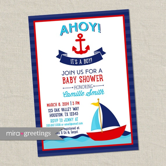 ahoy it's a boy baby shower invitation nautical boy,