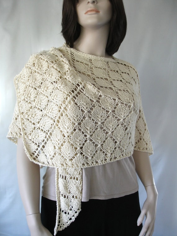 Large Lace Shawl, Cool Soft Cotton for Spring Wear, Hand knitted Lace Shawl