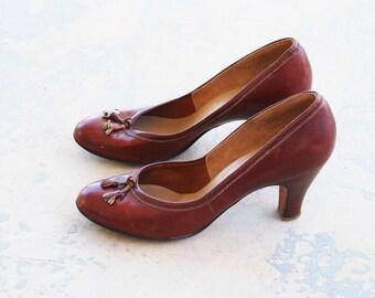 vintage 40s High Heels - Brown Leather Tassel Heels 1940s Shoes Sz 6.5 37