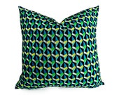 Blue Green Geometric Pillow, Graphic Pillows, Triangles, Prism, Retro 70s Style, Turquoise Lime White 18x18