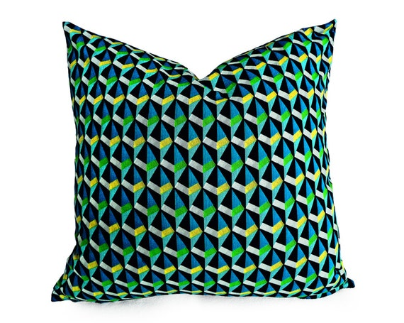 Blue Green Geometric Pillow Graphic Pillows Triangles