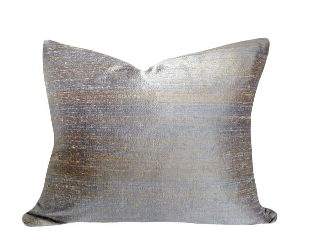 Blue silk throw pillow 16x20 contemporary decorative pillow for Decor pillows