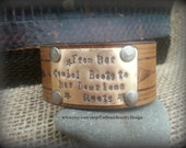 """Brown Leather Cuff Bracelet Antique Brass Metal with Quote """"From Her Cowboy Boots to her down home roots"""""""
