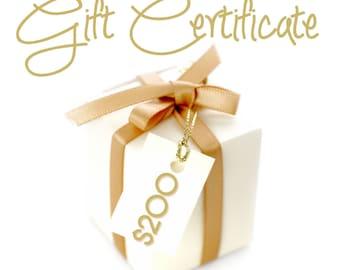 Gift Certificate 200 Dollars / By Jodi / Jewelry
