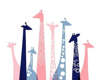 "20X16"" giraffe silhouettes landscape giclee print on fine art paper. pink, dusty blue, navy."