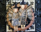 Halloween Ornament, or Wall Hanging with Double Trouble Witches by Stacy Marie