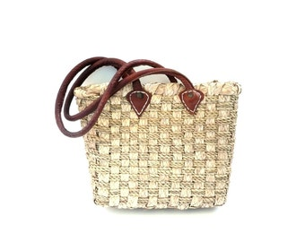French Vintage Leather and Natural Straws Woven Tote