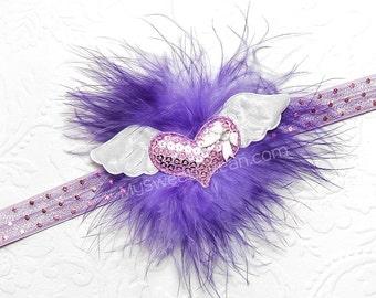 Purple Marabou Headband, Lavender Heart Headband, Heart with Wings, Marabou Puff Headband for Girls, Whimsical Heart Headband, Flying Heart