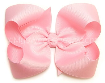 """Pink Hair Bow,  6"""" Grosgrain Bow for Girls, Extra Large Bow for Women, Teens, Pink 6 inch Bow for Toddlers, Great Big Bow for Baby Girls"""