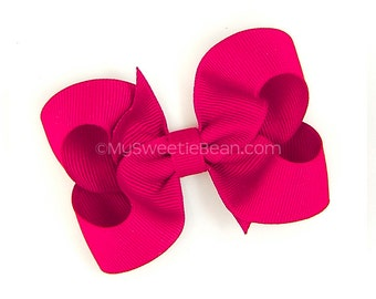 "Shocking Pink Hair Bow for Girls, 3 inch Grosgrain Bow, Shocking Pink Bow for Baby, Toddler, Girl, 3"" Boutique Bow, Basic Bow, Bright Pink"