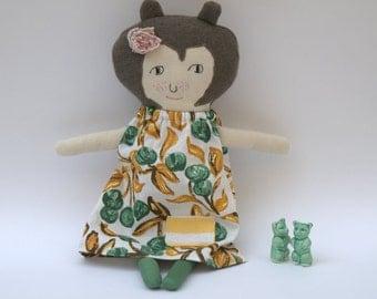 Cloth Doll Rag Doll Stuffed Toy Doll Green Yellow Ochre Brown EcoFriendly