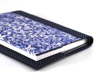 Fabric Journal - Delft Blue Flowers - Handmade Fabric Cover A6 Notebook, Diary - Hydrangea Floral