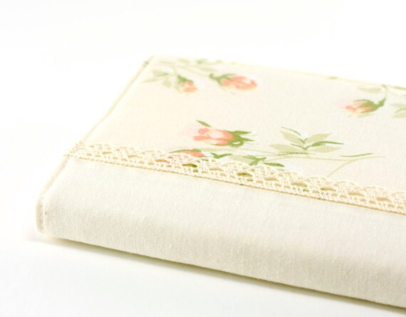 Fabric Journal - Sunlight Rosebuds - Handmade Fabric Cover A6 Notebook, Diary - Yellow and Peach Pink Lace Romantic Roses on Vanilla