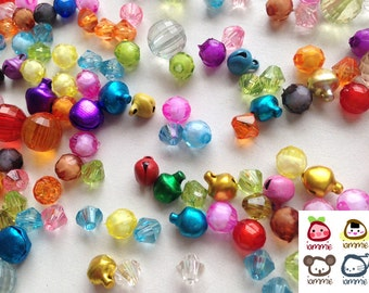 Assorted Bead, beads, bicone, bell, clear bead, plastic, craft, crafting, pink, blue, red, yellow, green, supplies, round, balls, colorful