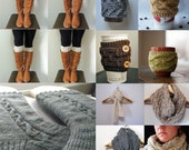 11 Patterns - Cable Cowl, 3 Boot Cuffs, Cup Cozy, 5th Avenue Scarf & Oversized Cowl / Digital PDF Knitting Patterns