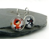 Red Riding Hood and the not so bad Wolf. Cabochons Earrings in silver plated brass, made of paper and covered with domed glass cabs.