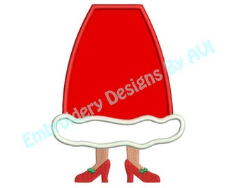 Applique Mrs. Santa Claus Feet Christmas Embroidery Designs 4x4 & 5x7 Instant Download Sale