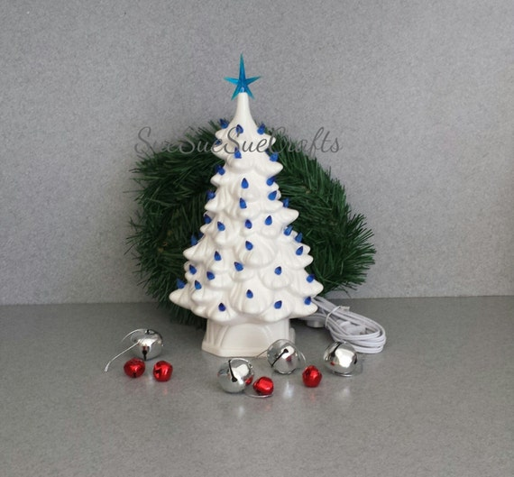 Lighted Christmas Carolers Ceramic Decoration By: White CHRISTMAS TREE Blue Christmas Ceramic By SueSueSueCrafts