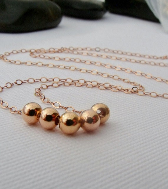 Rose Gold Necklace, 14K Rose Gold Bead Necklace, Rose Gold Jewelry, Dainty Simple Delicate necklace