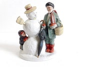 Norman Rockwell 1980 Grandpa Snowman Figurine - Collectible Christmas Decor Danbury Mint