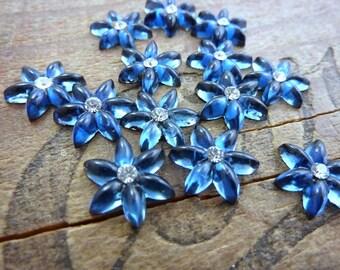 Rhinestone Flower Rhinestones with Crystal Montana Blue 14mm (4)
