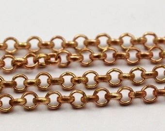 3 M. Soldered Raw Red Brass Rolo Chain ( 2.5 Mm )  ( Z054 )