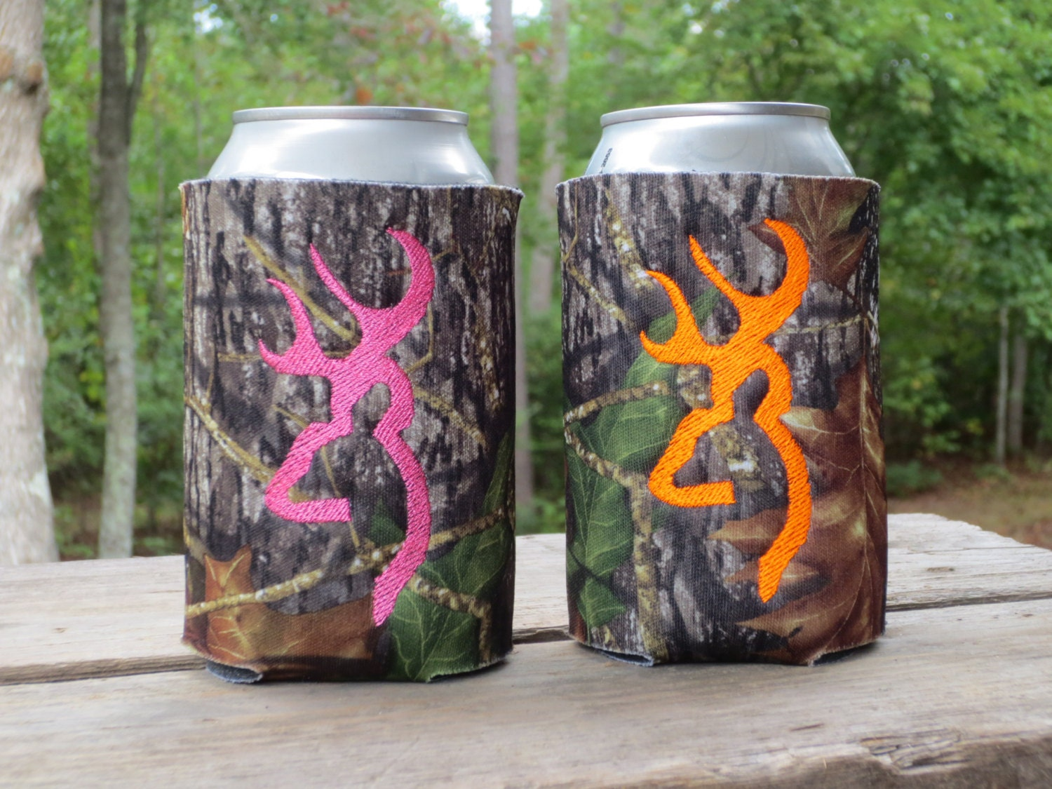 Great Gift Idea Two Deer Head Camo Can Koozie In Your Fav