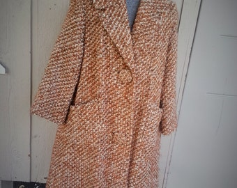 Brown and White A Line Raglan Coat