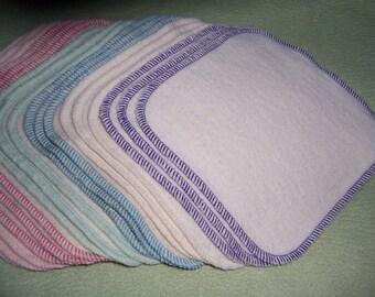 6 x 6 Hemp Washcloth Organic Cotton Fleece Wash Cloths Baby Face Family Wipes Bath Super Soft! Eco Friendly