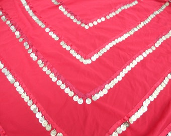 Red Triangle Hip Coin Scarf for Belly Dance