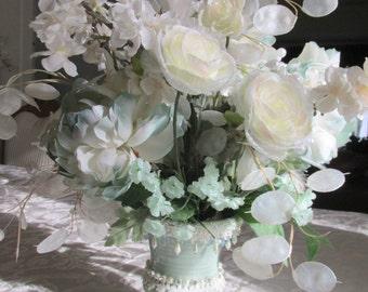 Victorian Beaded Floral Centerpiece Silk Floral Arrangement Centerpiece in Aqua Mint Green & Ivory