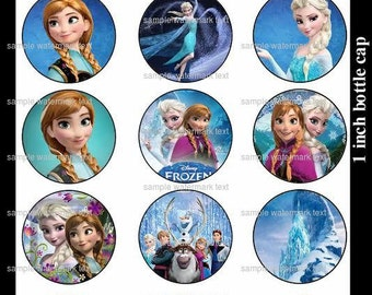 Disney 15 Frozen bottle cap images Instant download