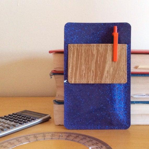 Nerd Power Vinyl Pocket Protector In Blue Lilac Sparkle Vinyl