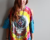 Eco Friendly Cut Out Off The Shoulder Grateful Dead Space Your Face Tie Dye Oversized Upcycled Fringe Tshirt/Tee/Top/Shirt Womens One Size