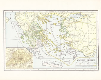 1903 Map Ancient Greece - Vintage Antique Map Great for Framing 100 Years Old