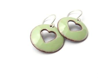 Handmade Pastel Green Heart Earrings, Lichen Enamel on Copper, Sterling Silver Earwires