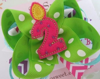 Birthday Boutique Hair Bow (Style 1)...Felt Happy Birthday Candle Center Hair Bow...Girls Hair Bow...Birthday Hair Bows